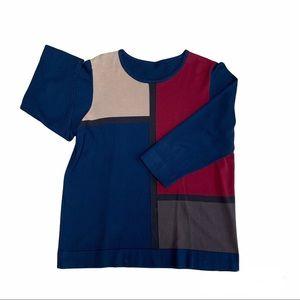 Colour block sweater - navy, tan, brown, burgundy